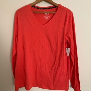 SONOMA Coral V-Neck Long Sleeve Shirt